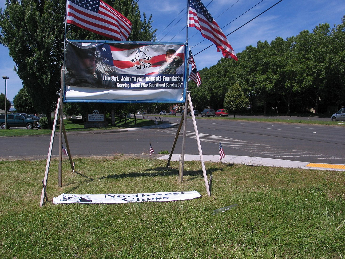 This banner and the NWC Banner were in a lot next to where Russell Miller lives.