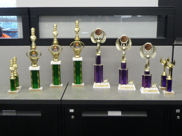 Trophies for Einstein Wise Martin Luther King Day Scholastic Chess Event. Photo Credit: Sudhakar Kudva