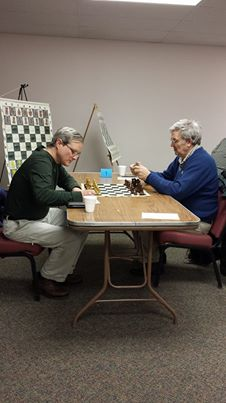 Last round pairing which ended in a draw between John Donaldson and Paul Bartron. Photo Credit: Vivi Bartron from a facebook post.