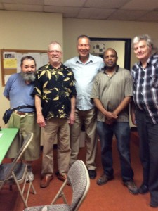 Five of the players in the Evergreen Open: Gary Dorfner, Steve Buck, H.G. Pitre, Joe Kiruu and Paul Bartron