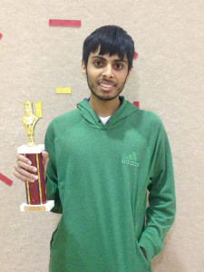 Anath Gottumukkala with trophy at 2015 Washington Junior Open
